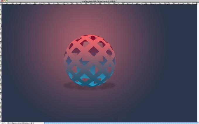 photoshop制作彩色镂空球体 ps制作镂空球体 ps制作电脑桌面