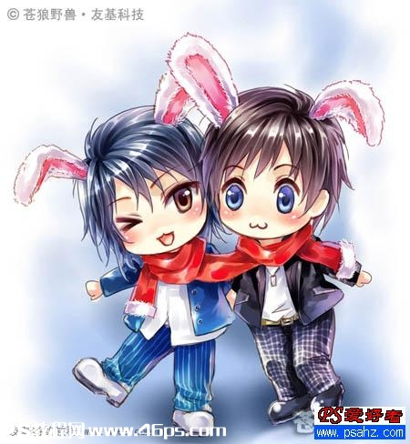 ps与pt鼠绘漂亮的兔耳朵人物卡通