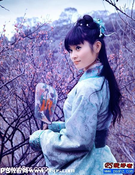 p调出清纯古装美女照片优雅的淡紫色调