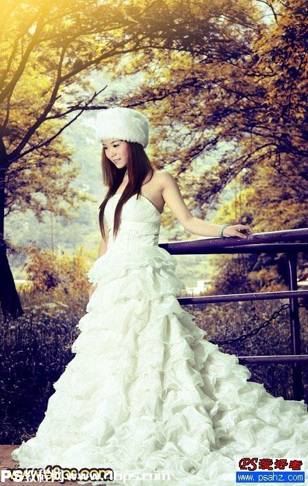 ps为漂亮mm婚纱照调出柔美的秋景效果