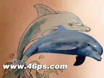 photoshop制作纹身效果 ps纹身效果 ps海豚纹身