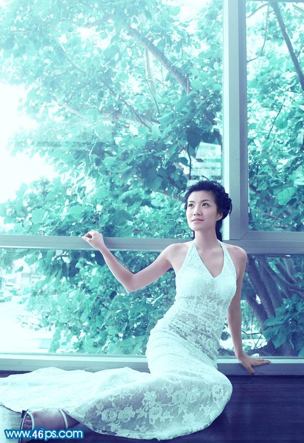 唯美写字背景_Photoshop给窗户边上的美女图片加上梦幻的青绿色_后期调色_PS教程