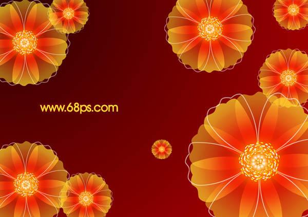 Photoshop非常可爱的红色花朵壁纸