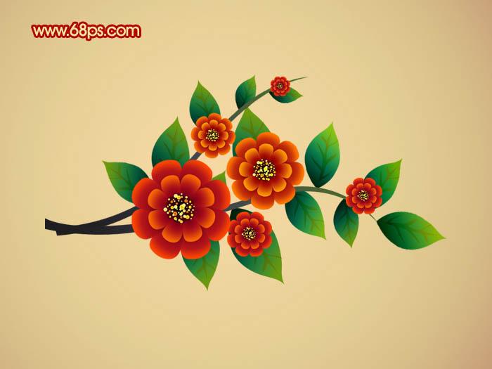 p制作非常可爱的卡通藤蔓花朵