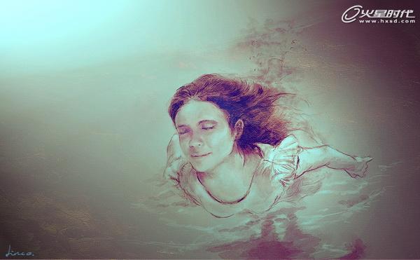PS鼠绘水彩风格海底游泳的女孩插画