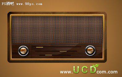 Photoshop制作一款精致的古典收音机