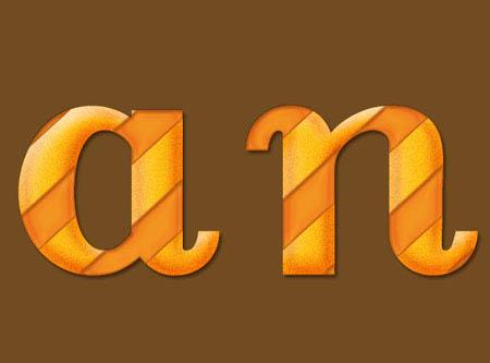 Photoshop制作可爱的橙色抽丝水晶字