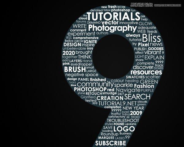 英文字体组成的艺术字