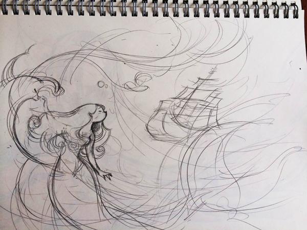 樱花女孩背影铅笔画
