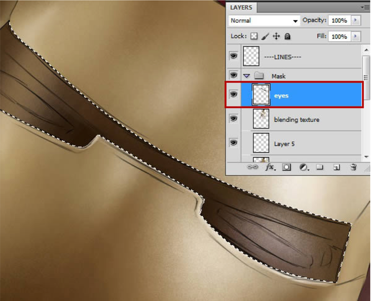 step24 现在进行到我最喜欢的部分。添加纹理!用柔软的有斑点的皮肤笔刷 (没错就是皮肤笔刷#skin brush) 我将用它来做主要的混合工具。创建一个新图层,用习惯工具,比对基调。 step25 你可以看到笔刷让表面保持纹理的同时变得美观,平滑,像是亚光表面。(笔刷越大,看起来越多斑点,试着变换笔刷尺寸消除纹理)  step26 我继续画金色区域直到对结果满意,然后下移几个图层开始混合和给头盔外的红色图层加纹理  step27 我一般先加深形状,再建立高光至几乎白色捕捉光  step28 我移