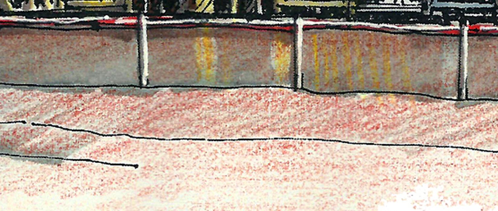 当冷灰面与亮部色阶较大时,运用偏暖色调的彩铅过渡,冷暖对比,使画面