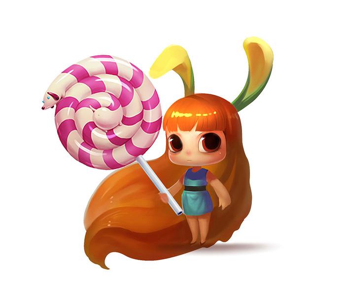 PS鼠绘手拿棒棒糖的萌女孩