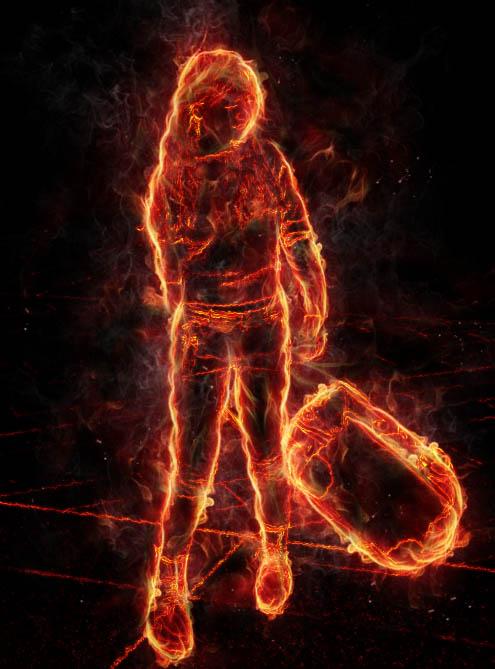 ps中利用滤镜及素材快速把人物转为火焰人像