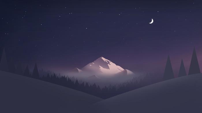 PS绘制简洁的月色下的高峰壁纸