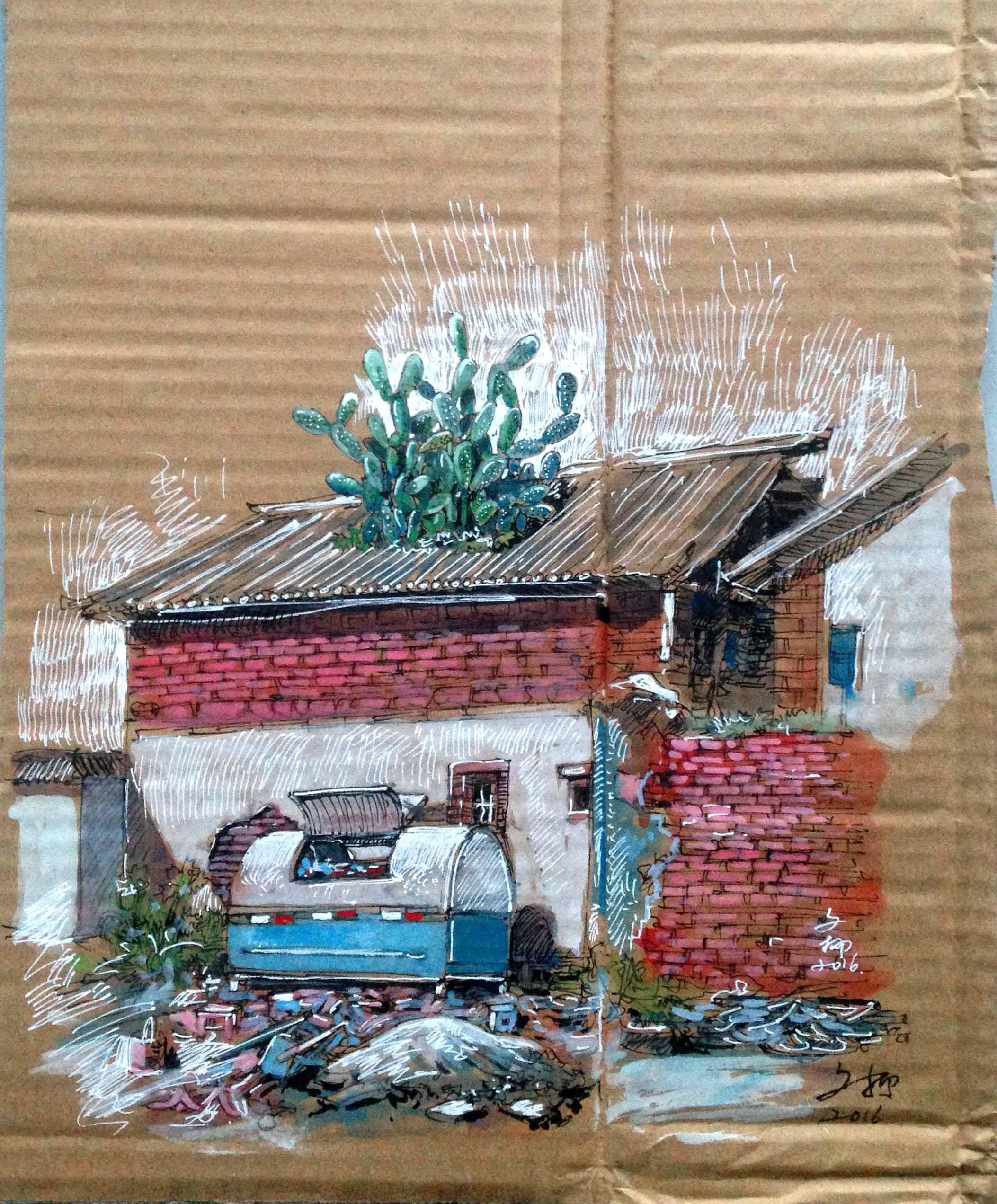 方便的垃圾桶,房子上巨大的仙人掌