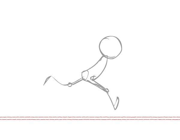 跑步与步行的周期相类似。当一个角色走路的时候,在腿部分解动作中,角色的头部通常是位置的最高点。当这个角色迈一只腿追赶自己的时候,另一只脚跨出了下一步。  第2步 第一幅图,我习惯先从着地的脚开始,先确定脚后跟的位置。 我喜欢先打个简单的草稿,在添加手部动作前,保证姿势和动作准确很重要,所以让我们先关注下肢的动作,手臂则可以先放在一边稍后添加。这次绘作,我将会一口气把动作画完,而不会同时画其他动作。  图1 第3步 注意脚的姿势!在第2幅图中,离我们比较远的一只脚与地面是完全接触。而离我们比较近的一条腿则