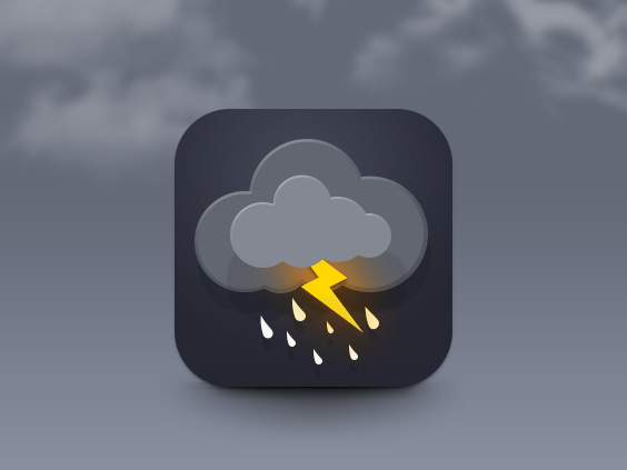 Photoshop制作精致的闪电天气图标