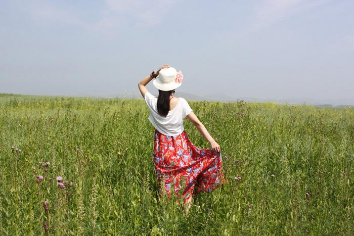 Photoshop打造柔美的青黄色草原人物图片