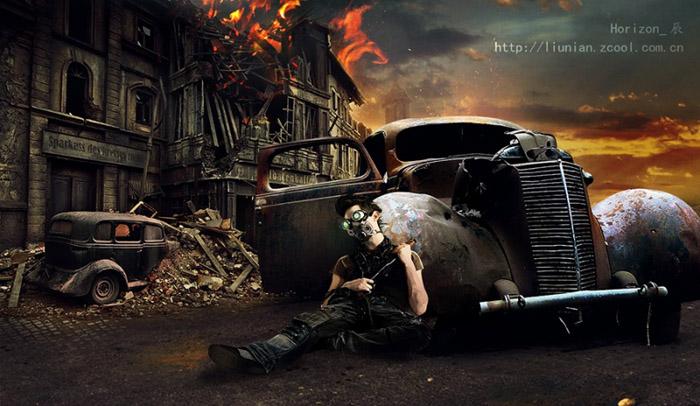 PS合成城市废墟中的战争片场景