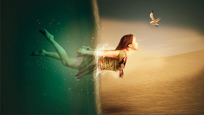 PS创意合成水底穿越场景