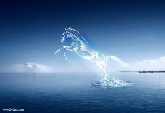Photoshop打造从水底腾出的水马