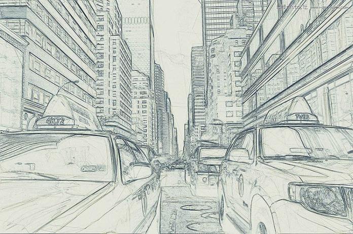PS把城市建筑照片变成素描艺术效果