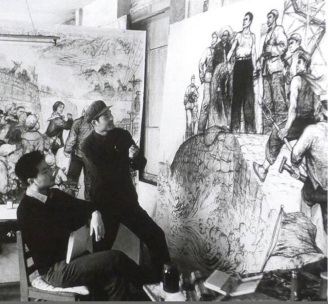 这是与画友侯国良一起画反击苏联侵略珍宝岛和农业学大寨题材的草图