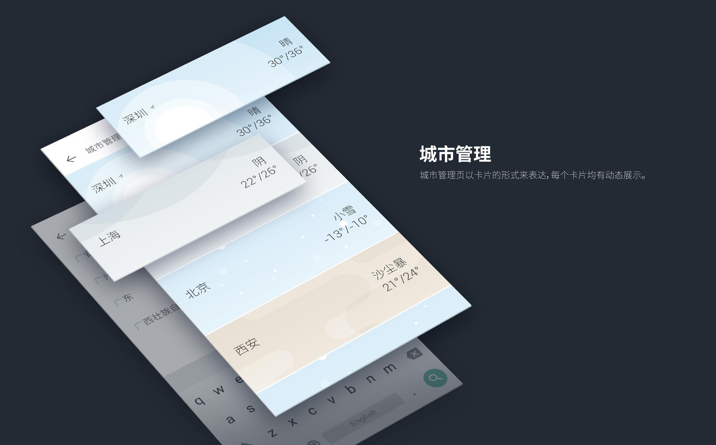 widget 以方圆的组合卡片来表达,轻盈清爽.