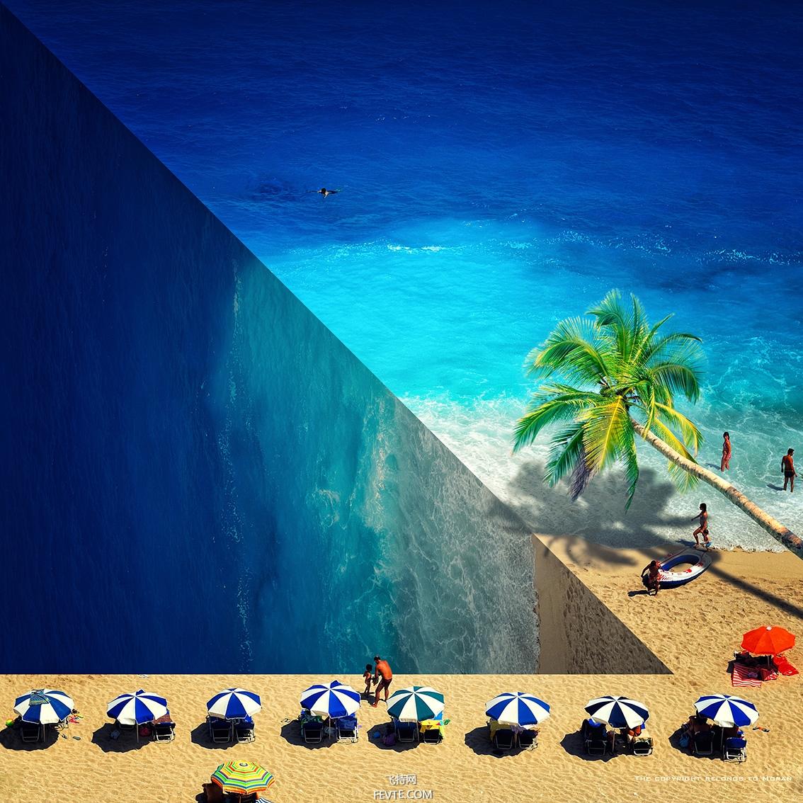 ps创意次元效果海滩合成之路